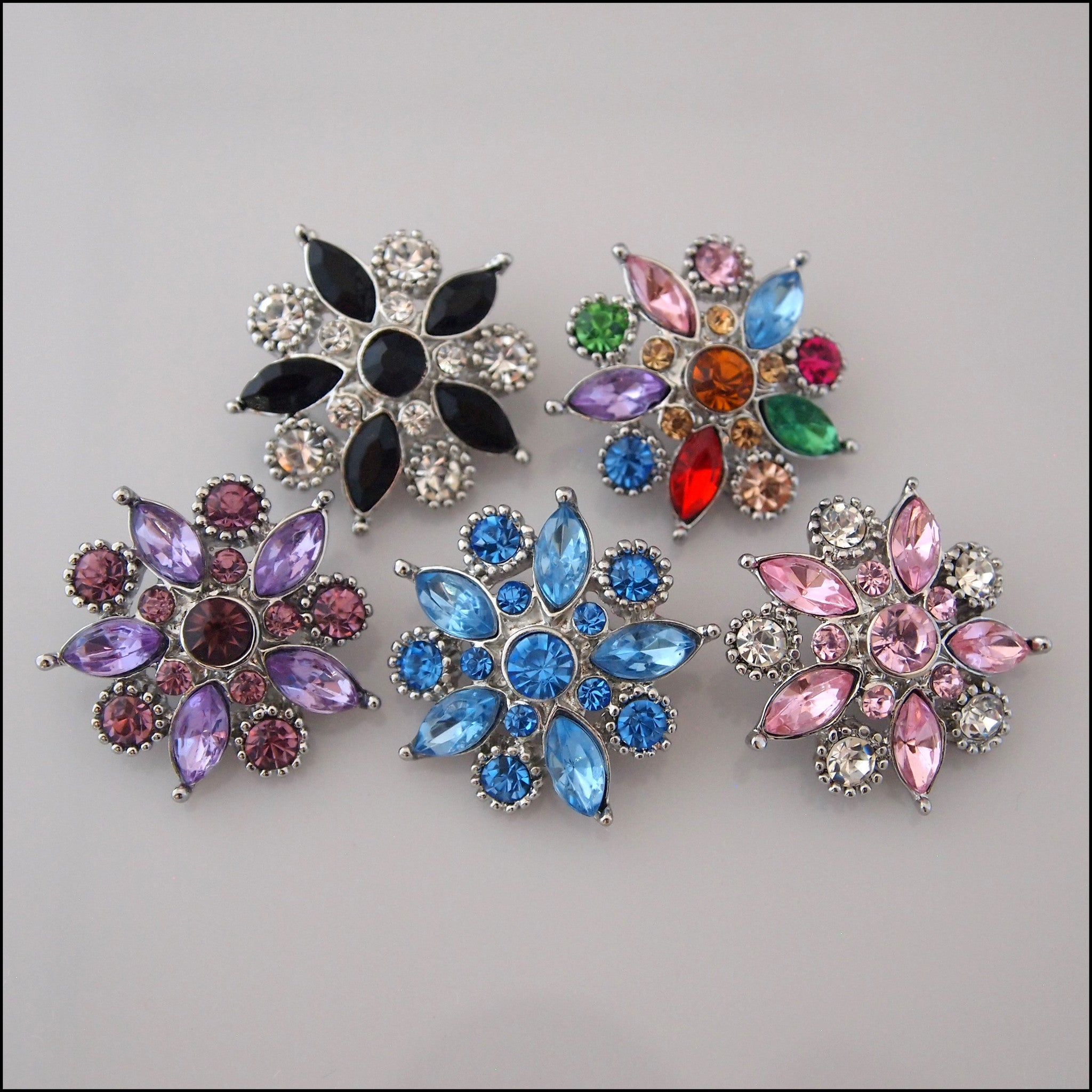 Deluxe Decorative Crystal Flower Snap Button - Find Something Special