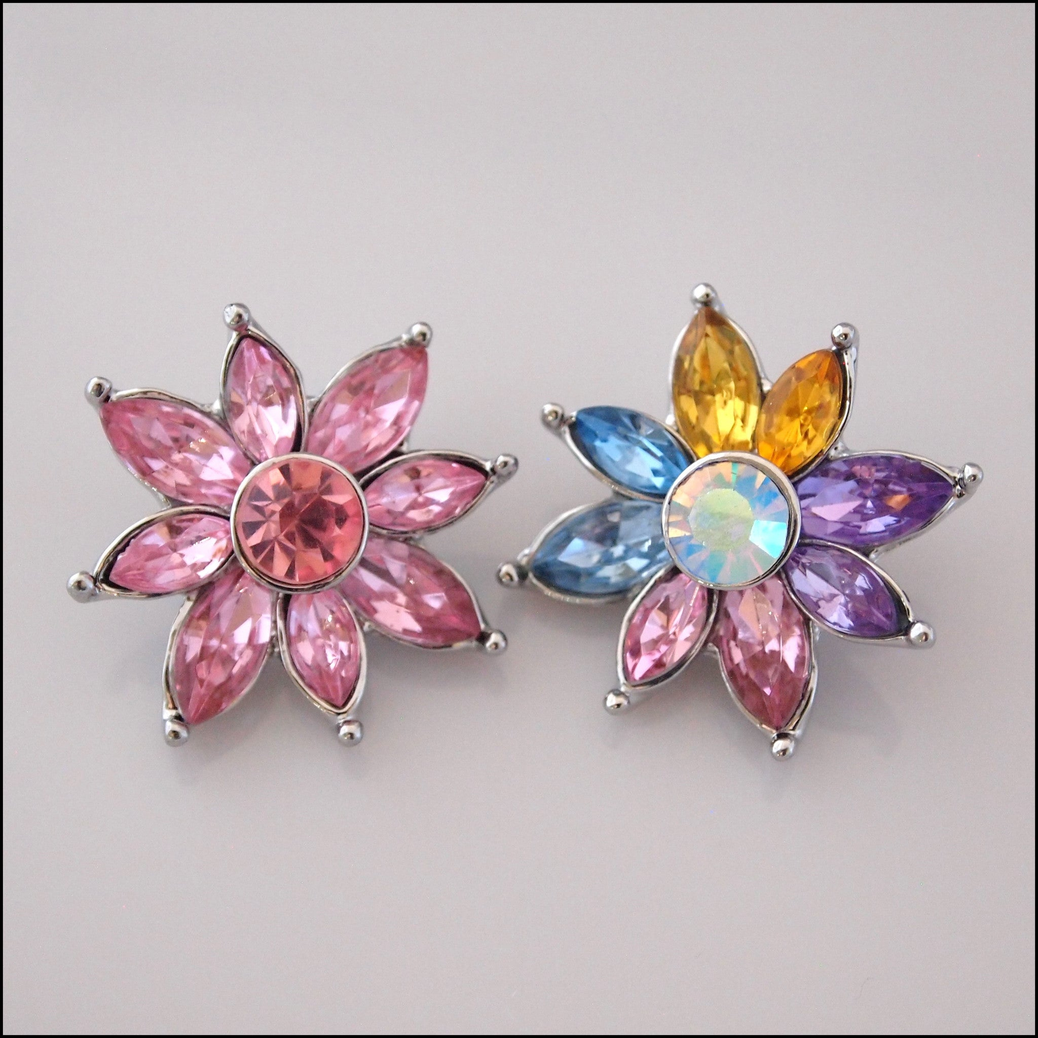 Deluxe Crystal Flower Snap Button - Find Something Special