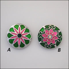 Deluxe Pink & Green Metallic Snap Button - Find Something Special