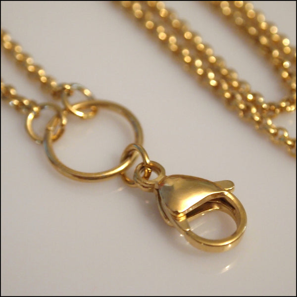 Long Overhead Gold Rolo Chain for Living Locket