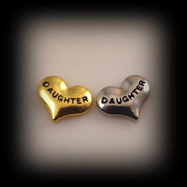 """Daughter"" Heart Floating Charm"
