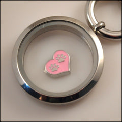 Paw Prints on Heart Floating Charm - Find Something Special