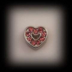 Pink Crystal Heart Floating Charm - Find Something Special