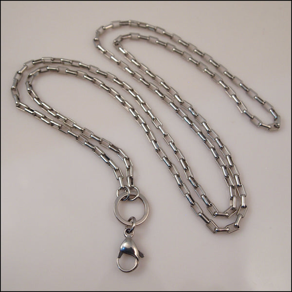 Silver Toned Long Overhead Box Chain for Living Locket