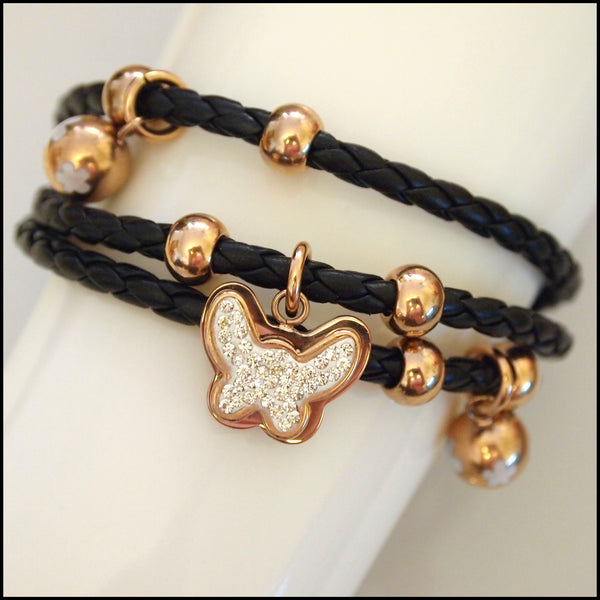 Leather Layered Magnetic Butterfly Bracelet Rose Gold on Black
