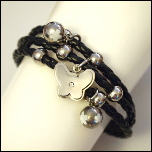 Leather Layered Magnetic Butterfly Bracelet Silver on Black