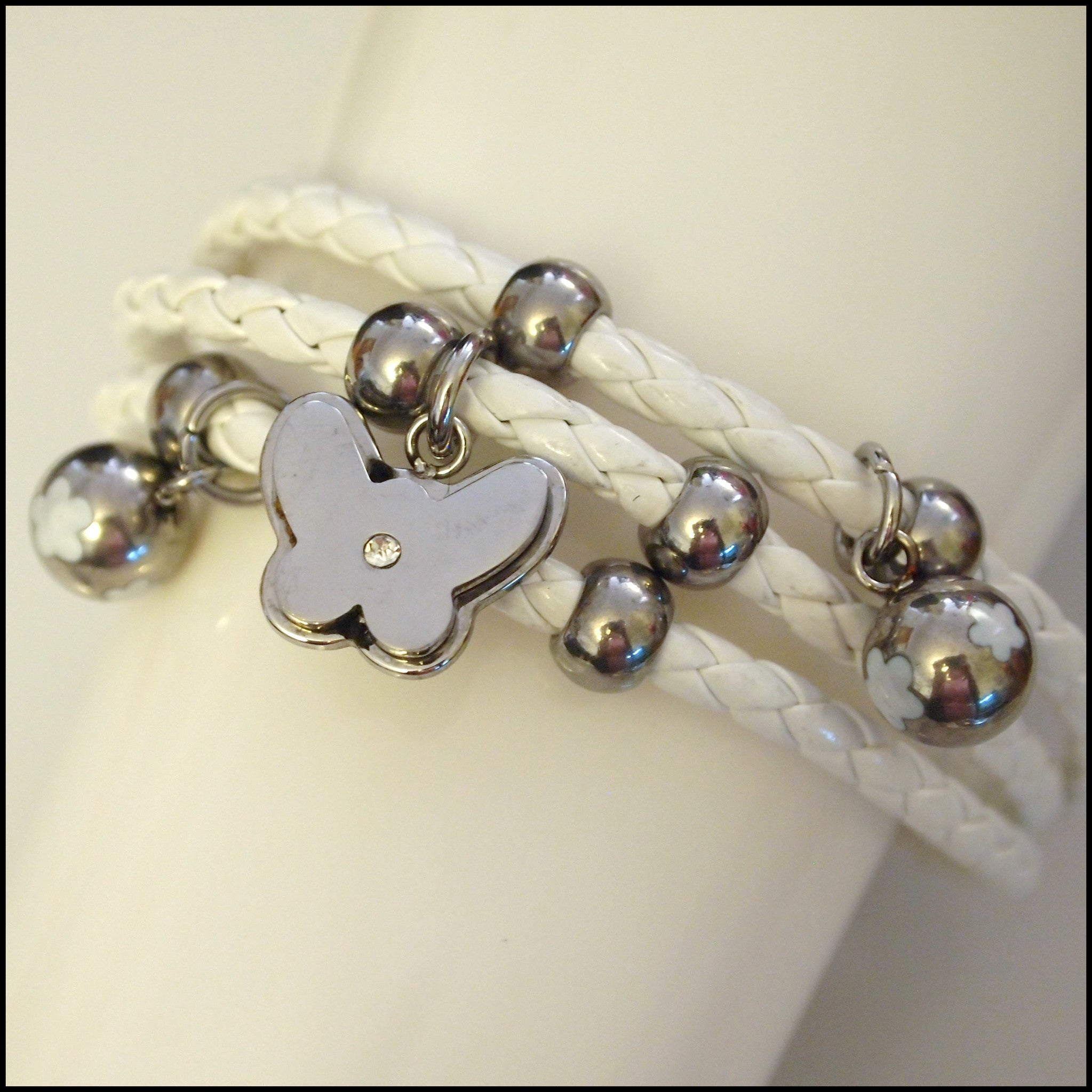 Leather Layered Magnetic Butterfly Bracelet Silver on White - Find Something Special