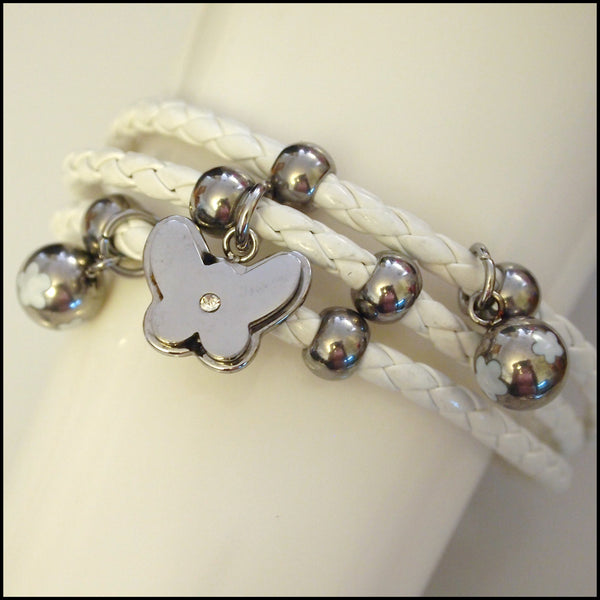 Leather Layered Magnetic Butterfly Bracelet Silver on White