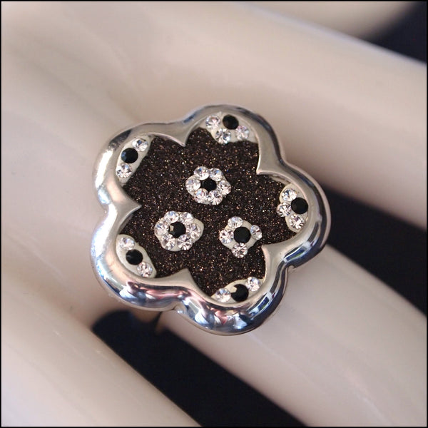 Crystal Flowers Sterling Silver Ring
