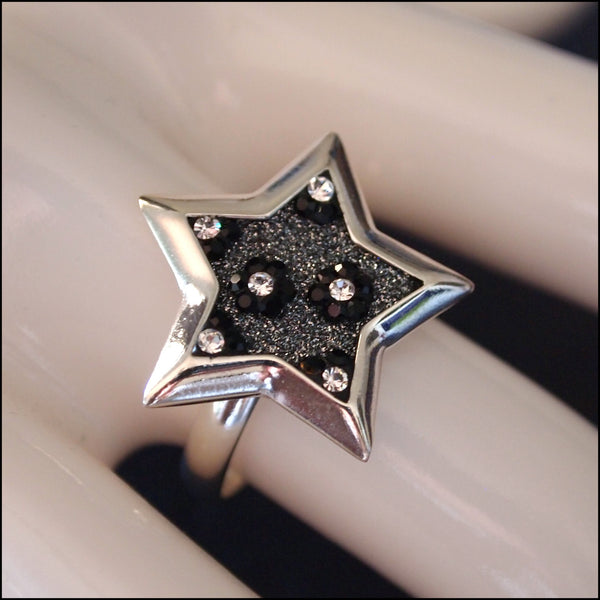 Floral Star Dust Sterling Silver Ring