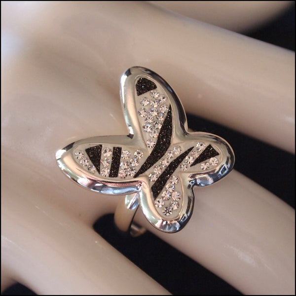 Zebra Stripe Sterling Silver Butterfly Ring