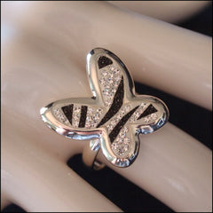 Zebra Stripe Sterling Silver Butterfly Ring - Find Something Special