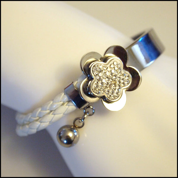 Leather Half Cuff Flower Bracelet Silver on White