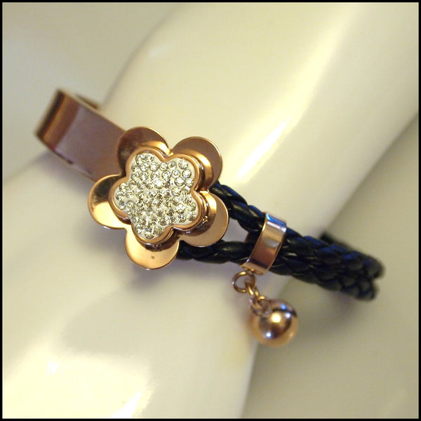 Leather Half Cuff Flower Bracelet Rose Gold on Black