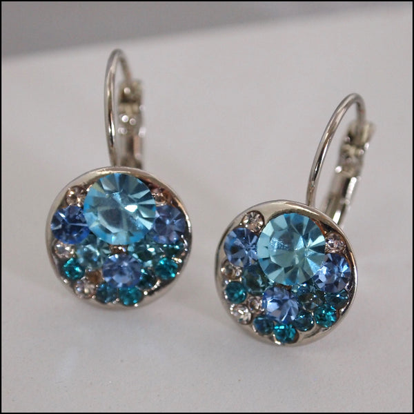 Blue Crystal Drop Earrings - Platinum Plated