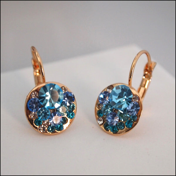 Blue Crystal Drop Earrings - Rose Gold Plated