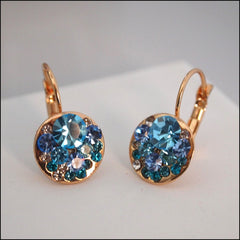 Blue Crystal Drop Earrings - Rose Gold Plated - Find Something Special