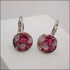 Pink Crystal Drop Earrings - Platinum Plated - Find Something Special