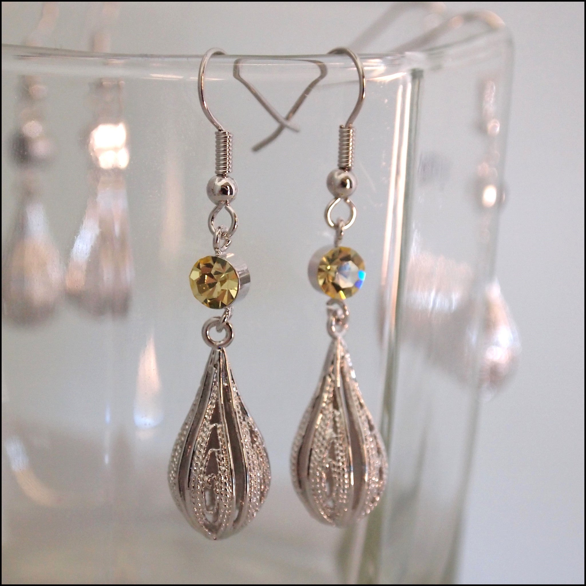 Crystal Rain Drop Earrings - Yellow - Find Something Special