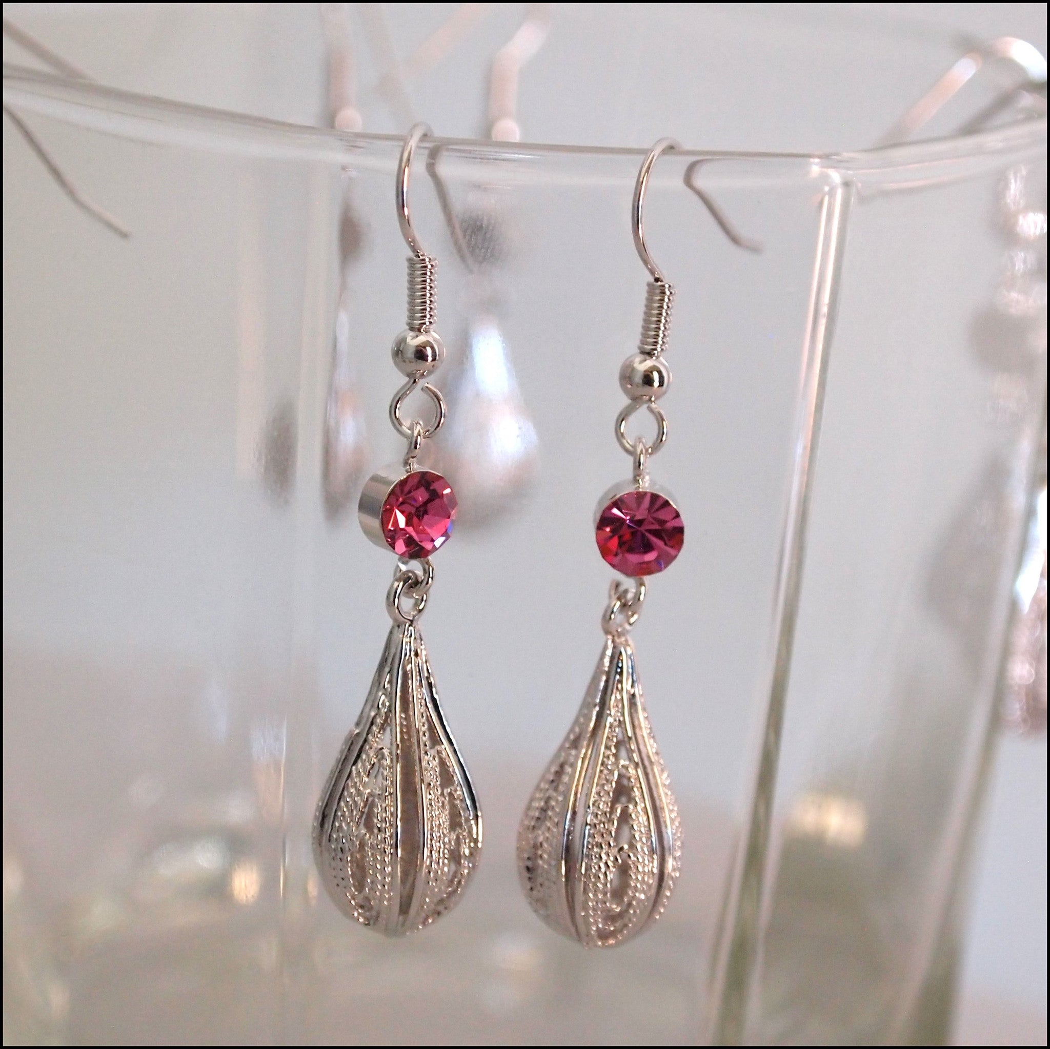 Crystal Rain Drop Earrings - Pink - Find Something Special