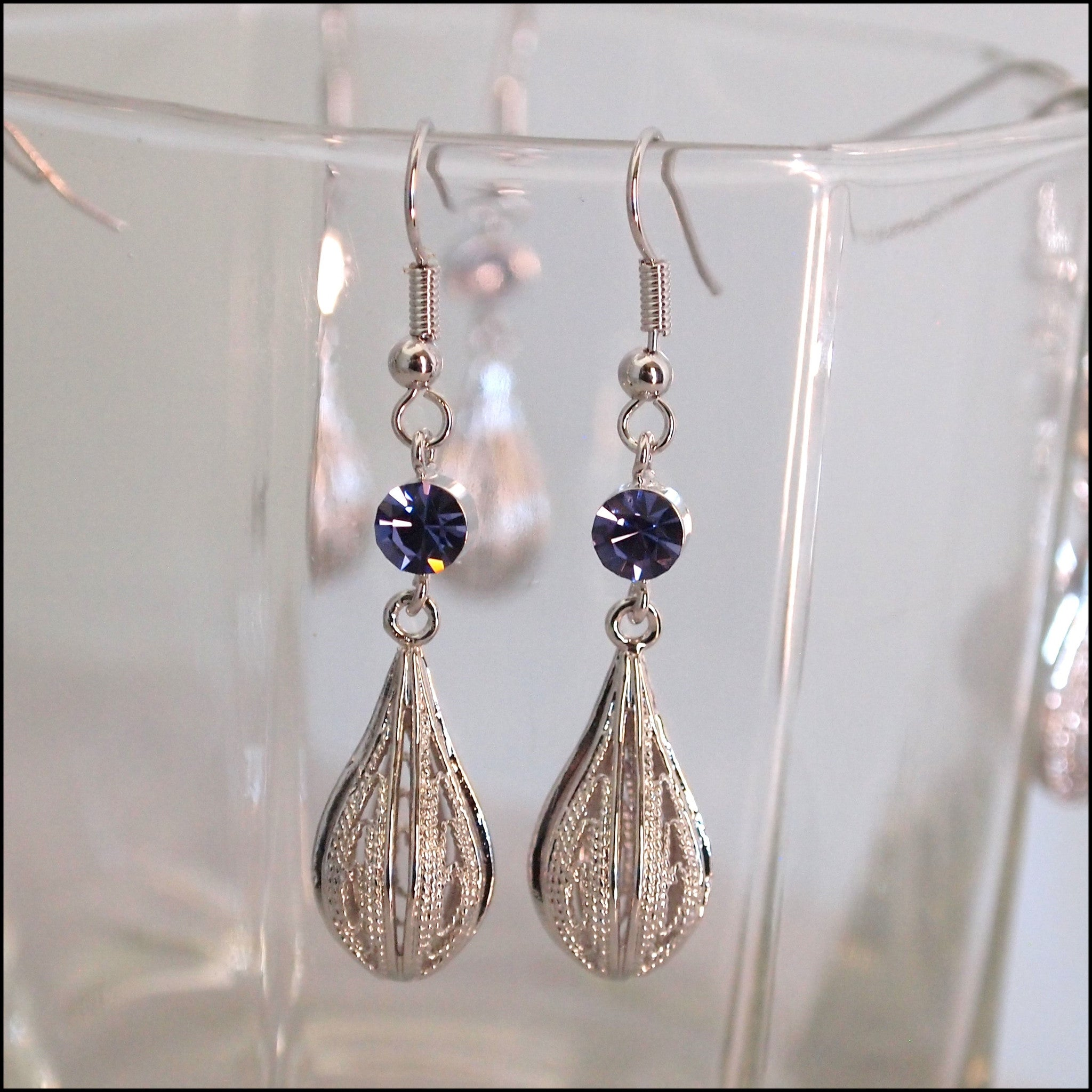 Crystal Rain Drop Earrings - Purple - Find Something Special
