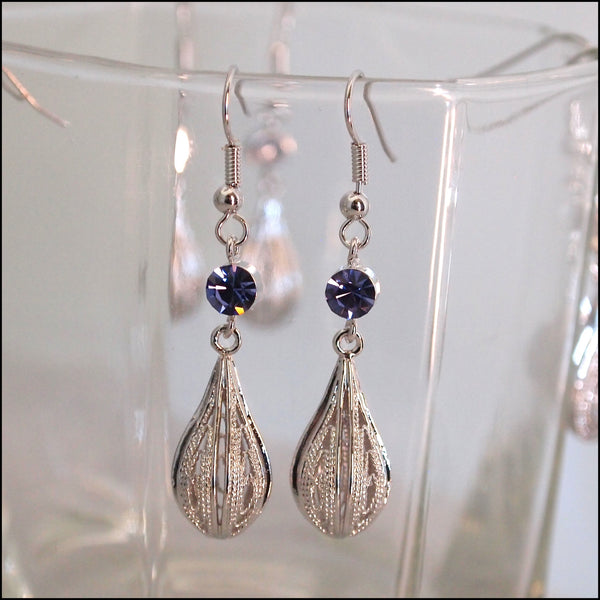 Crystal Rain Drop Earrings - Purple