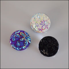 Sparkly Floral Snap Button - Find Something Special