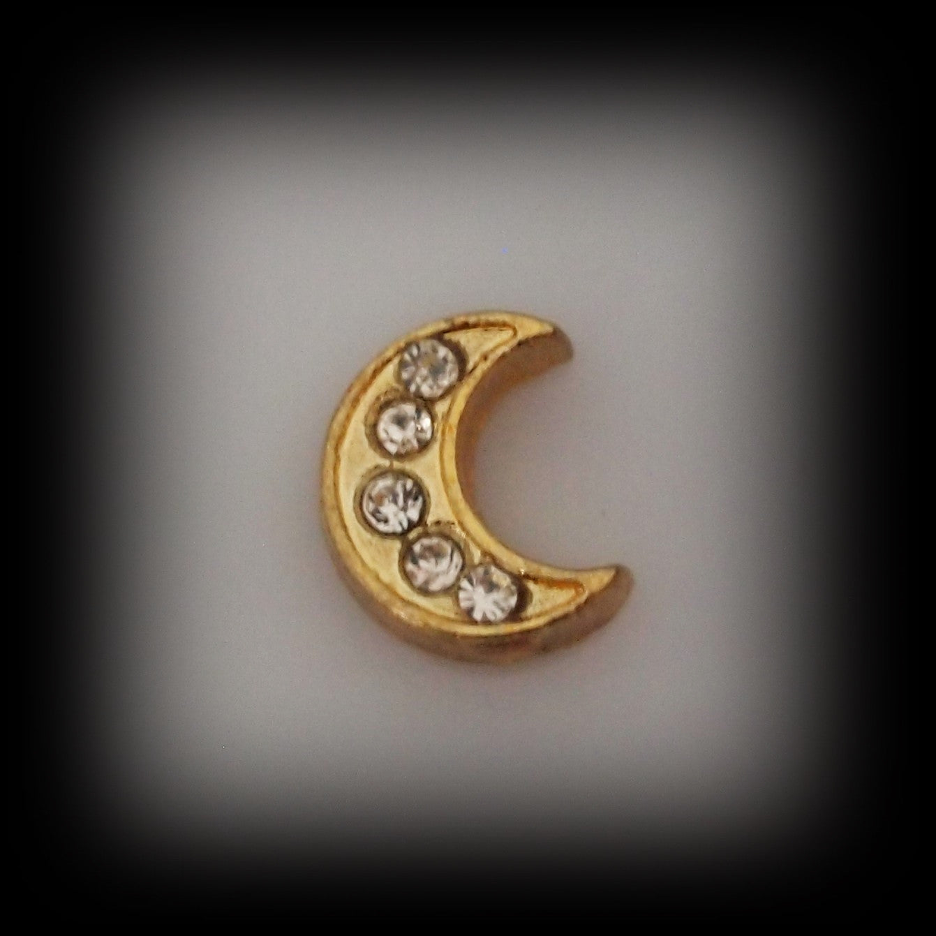 Gold Crystal Moon Floating Charm - Find Something Special