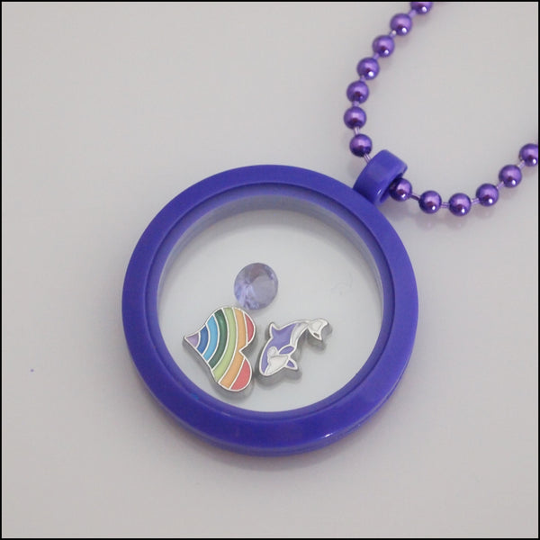 Acrylic Magnetic Living Locket - Purple