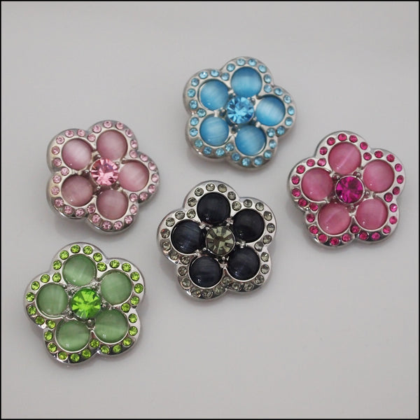Deluxe Flower Shape Crystal Snap Button