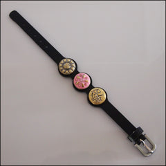 Thin Leather 3 Snap Bracelet with Buckle Black - Set 3 - Find Something Special
