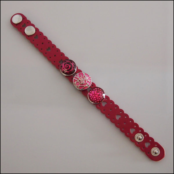 Heart Pattern Leather 3 Snap Bracelet Dark Pink - Set 2
