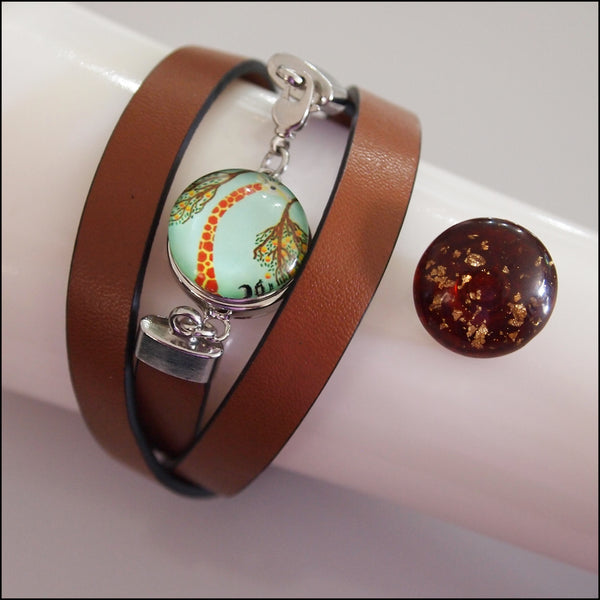 Leather Snap Button Wrap Bracelet - Brown