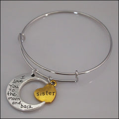 Expandable Bangle - Sister to the Moon and Back - Find Something Special