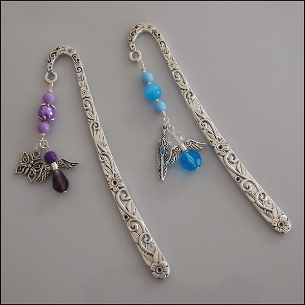 Angel Bookmark - Floral Silver