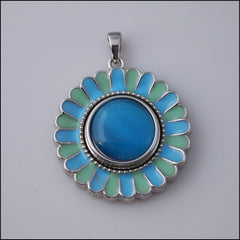 Blue/Green Flower Snap Pendant - Find Something Special