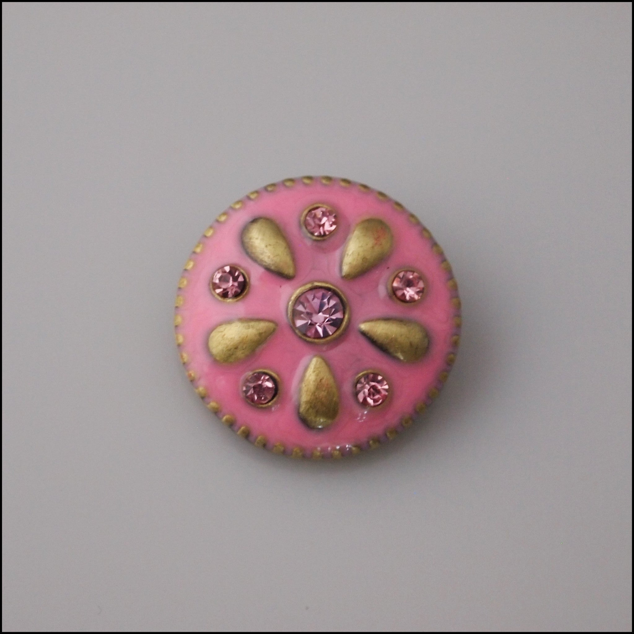 Pink Crystal and Enamel Snap Button - Find Something Special