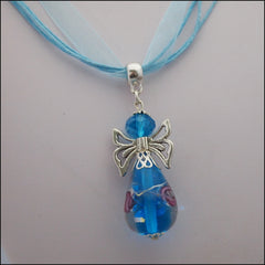 Glass Angel Pendant - Light Blue - Find Something Special