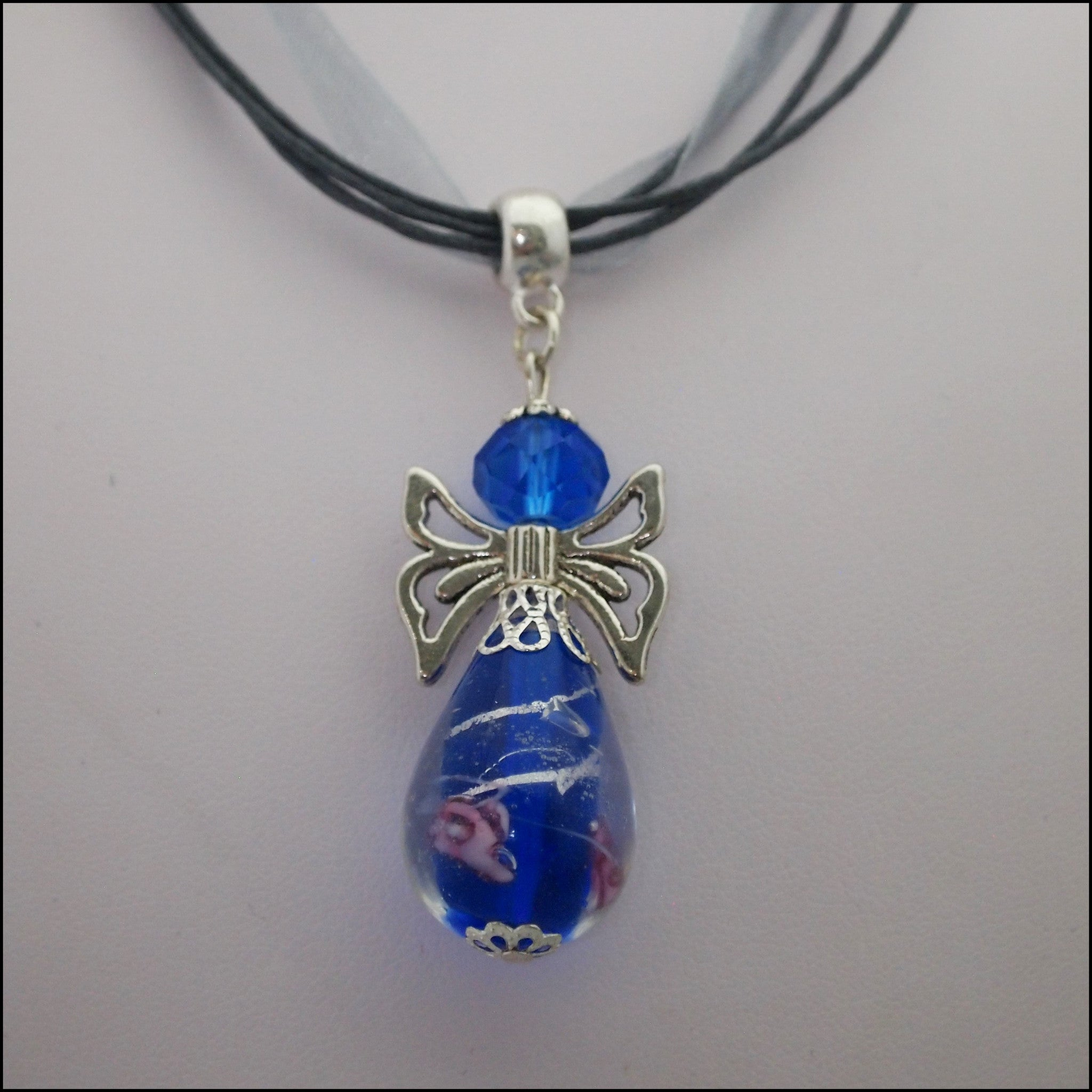 Glass Angel Pendant - Dark Blue - Find Something Special