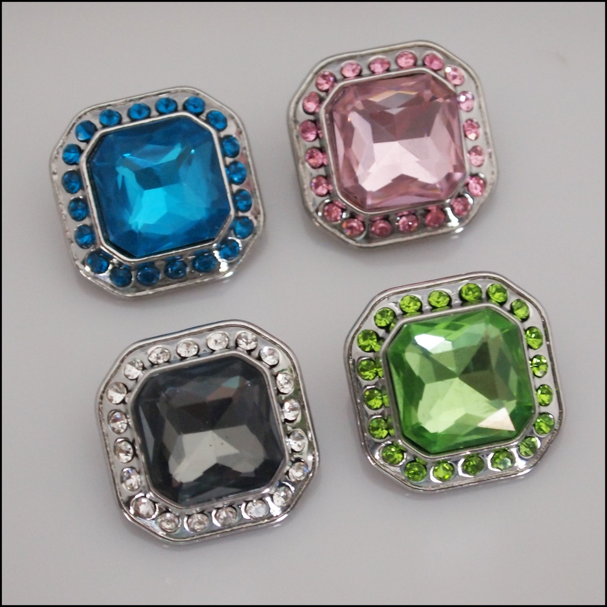 Deluxe Square Crystal Snap Button - Find Something Special