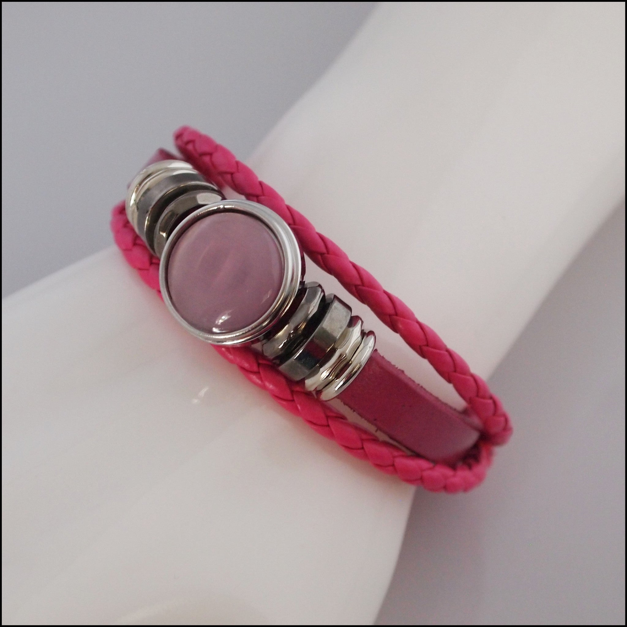 Braided Snap Button Bracelet - Pink - Find Something Special