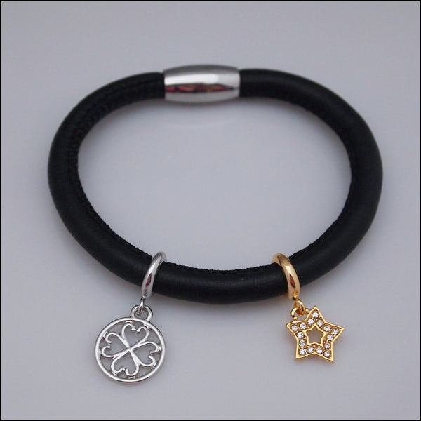 Single Leather Charm Bracelet - Black