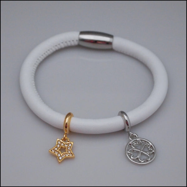 Single Leather Charm Bracelet - White