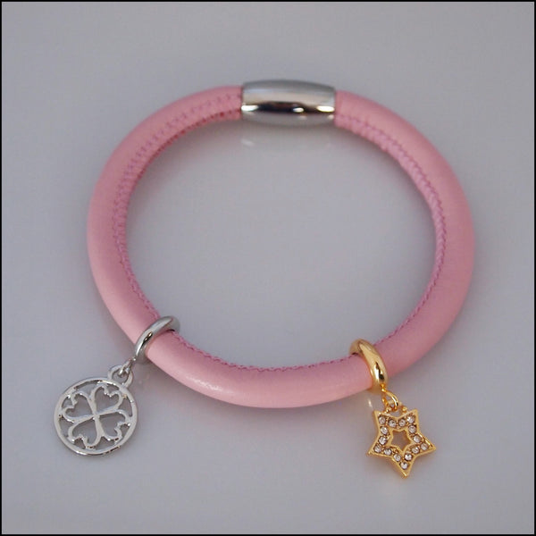 Single Leather Charm Bracelet - Pink