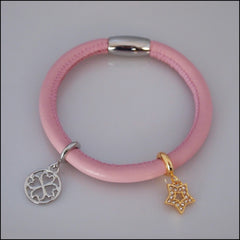 Single Leather Charm Bracelet - Pink - Find Something Special