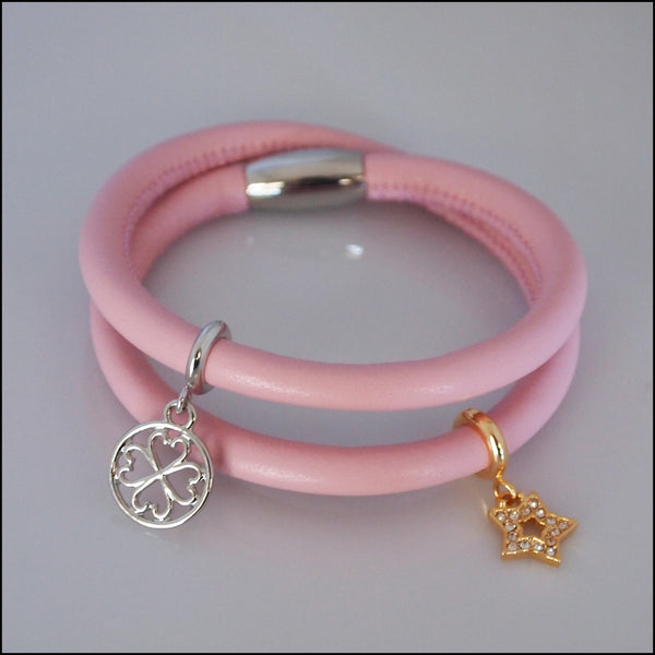 Double Leather Charm Bracelet - Pink