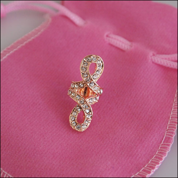 Large Crystal Knot Charm - Rose Gold Plated