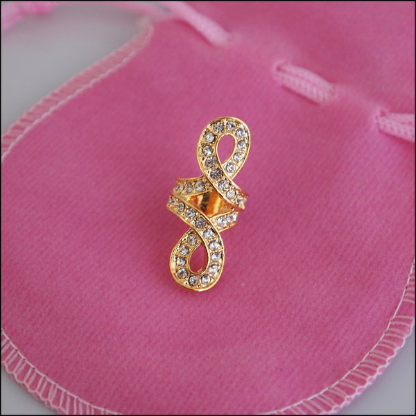 Large Crystal Knot Charm - Gold Plated