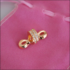 Large Crystal Knot Charm - Gold Plated - Find Something Special