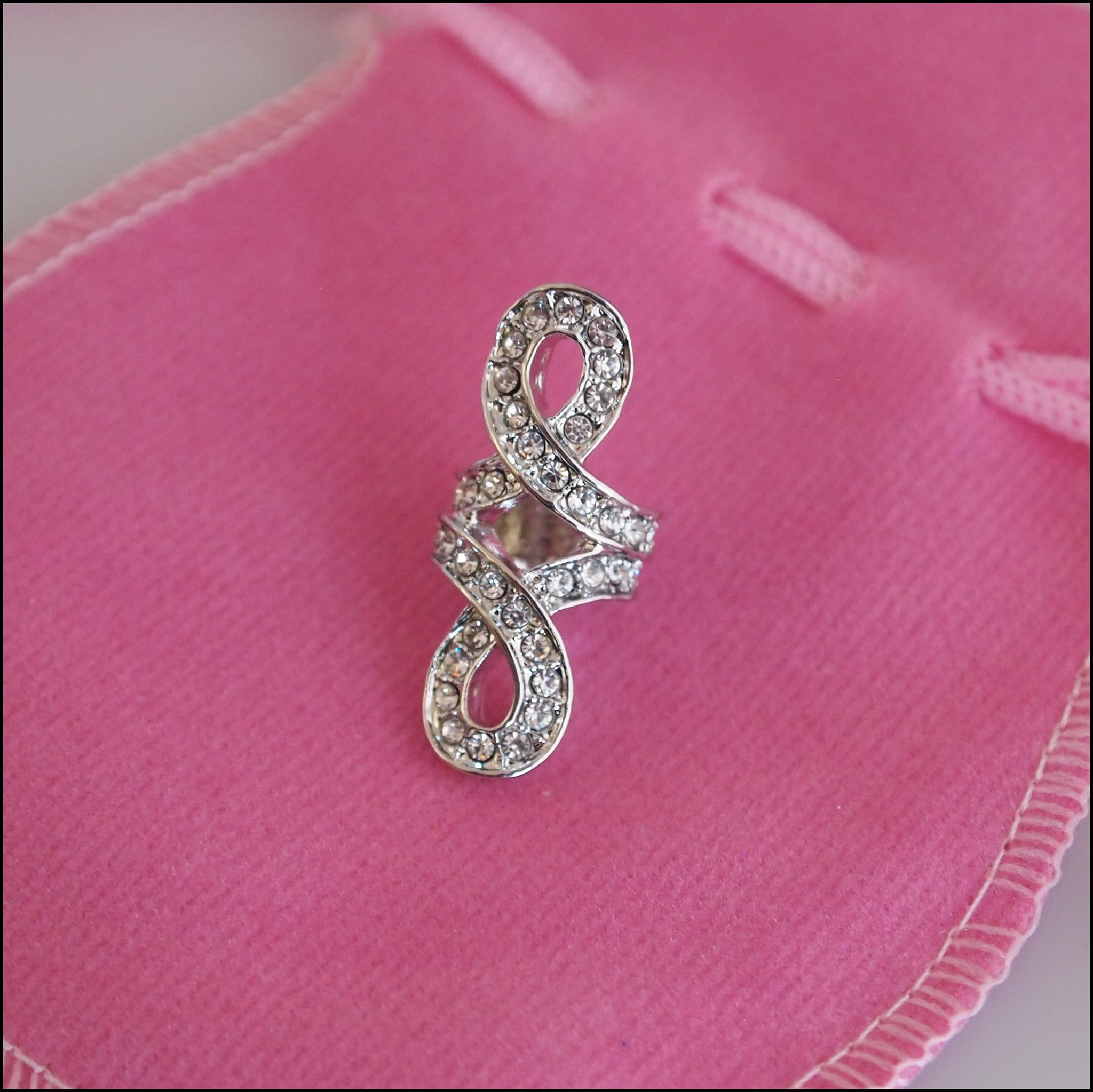 Large Crystal Knot Charm - Silver Plated - Find Something Special